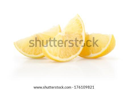 Lemon Slices Isolated on White Background - stock photo