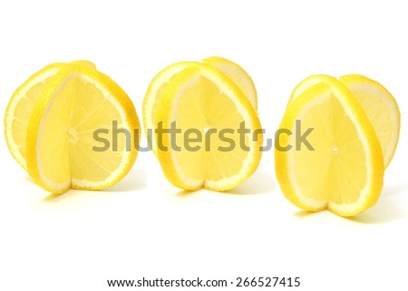 lemon slices on white background - stock photo