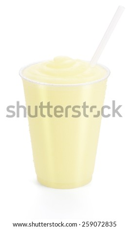 Lemon Smoothie or Frozen Lemonade with Straw In Generic Cup Isolated on a White Background