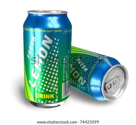 Lemon soda drinks in metal cans - stock photo