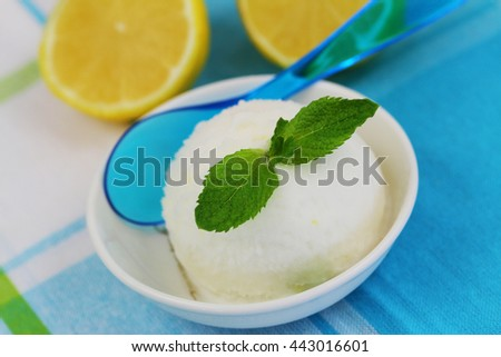 Lemon sorbet in bowl decorated with mint leaf