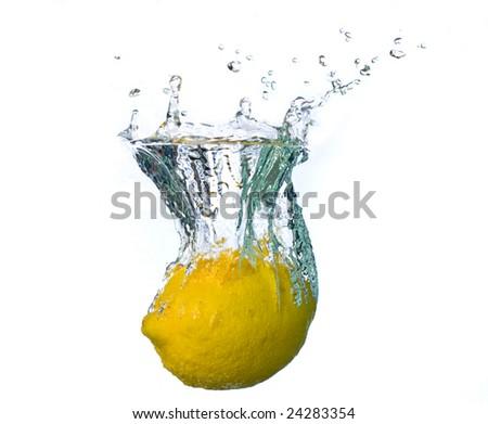 lemon splash - stock photo