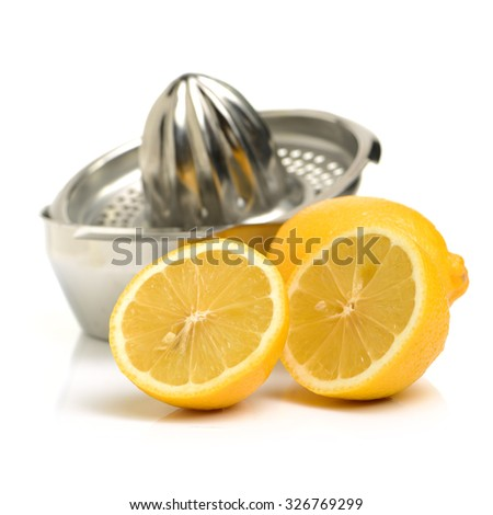 lemon-squeezer on white background - stock photo