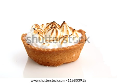 Lemon tart with meringue on white background - stock photo