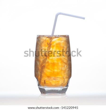 Lemon tea herbal drinks with ice in glass isolated on white background