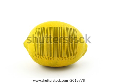 lemon to scan, bar code is fake - stock photo