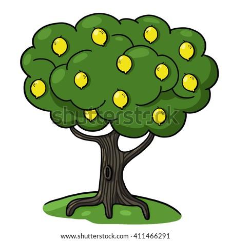 Lemon tree illustration - stock photo