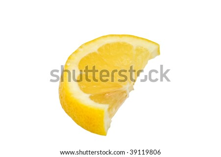 Lemon wedge isolated on white background - stock photo