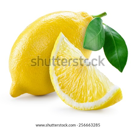 Lemon with leaves isolated on white - stock photo
