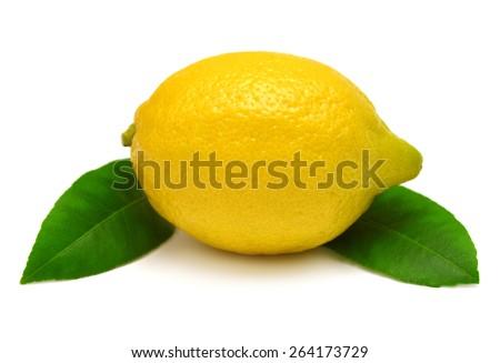 Lemon with leaves isolated on white background - stock photo