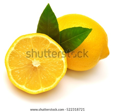 Lemon with leaves isolated on white background. Flat lay, top view