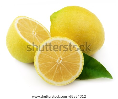 Lemon with leaves on a white background