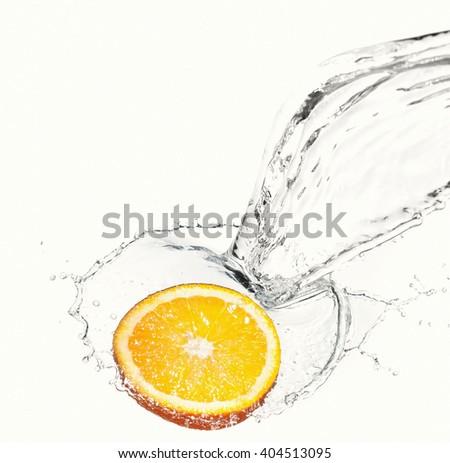 lemon with water splash - stock photo