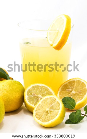 Lemonade drinks with juice isolated mint