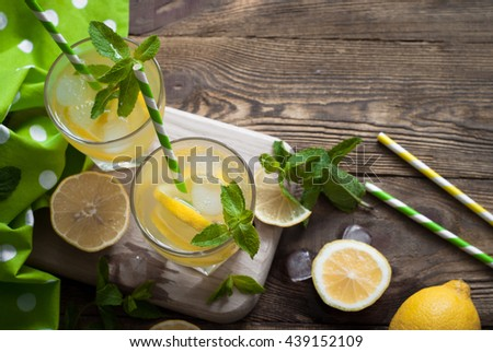 Lemonade in a glass. Traditional summer drink