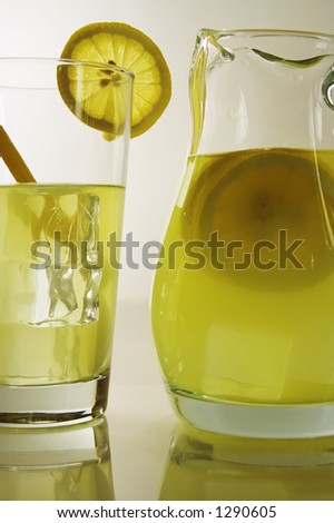 lemonade pitcher and glass