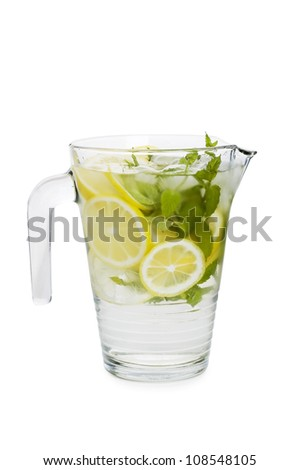 lemonade pitcher isolated on white background