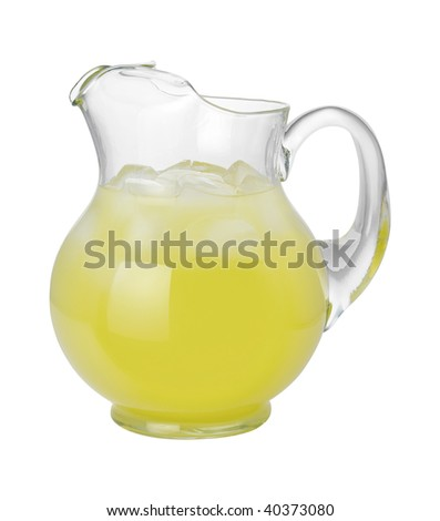 Lemonade Pitcher with a clipping path isolated on white. - stock photo