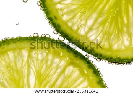 Lemonade with bubble closeup - stock photo