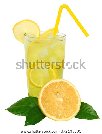 Lemonade with ice cubes and sliced lemon with leaf on white background.