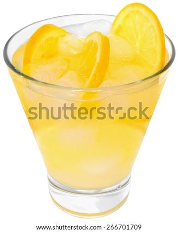 Lemonade with ice cubes on white background. - stock photo