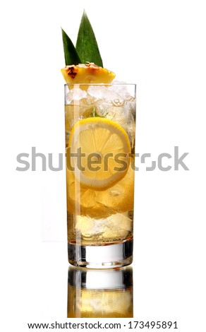 Lemonade with pineapple / studio photography of beverages isolated on white background with reflection  - stock photo