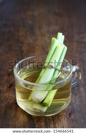 Lemongrass drink, clear grass filled lemon grass fresh, thai herbal drink - stock photo