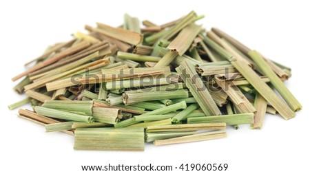 Lemongrass over white background - stock photo