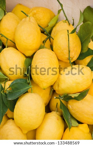 lemons against a wall in Amalfi, Italy - stock photo