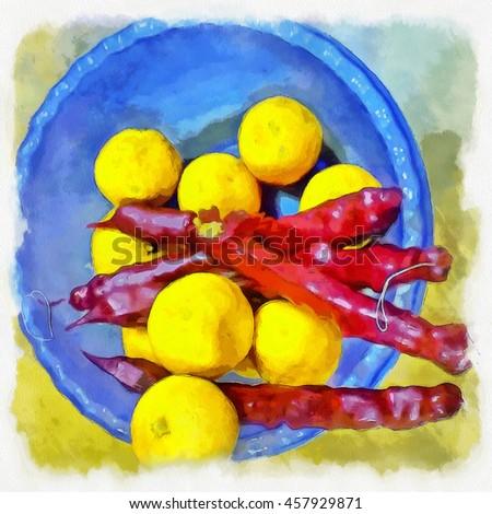 Lemons and georgian churchkhela in a blue bowl. Illustration - stock photo