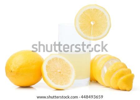 lemons and juice - stock photo
