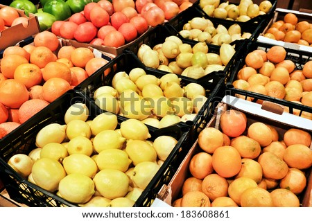 lemons at the grocery store - stock photo