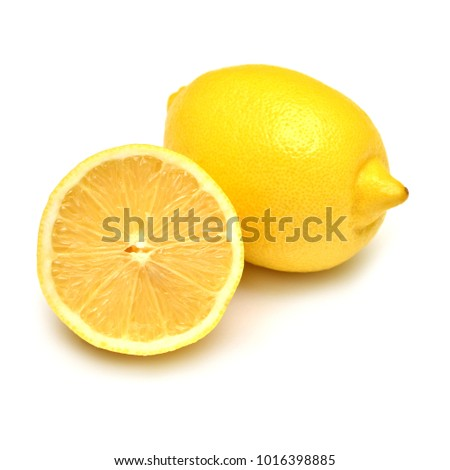 Lemons beautiful whole and sliced isolated on white background. Vitamin C. Tropical useful fruit. Flat lay, top view
