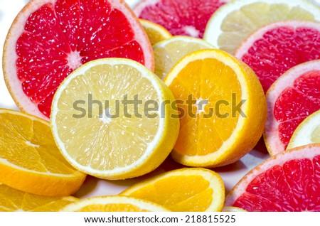 lemons, grapefruits and oranges - stock photo