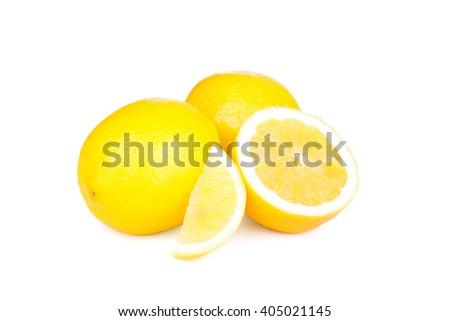 Lemons group isolated on white background - stock photo