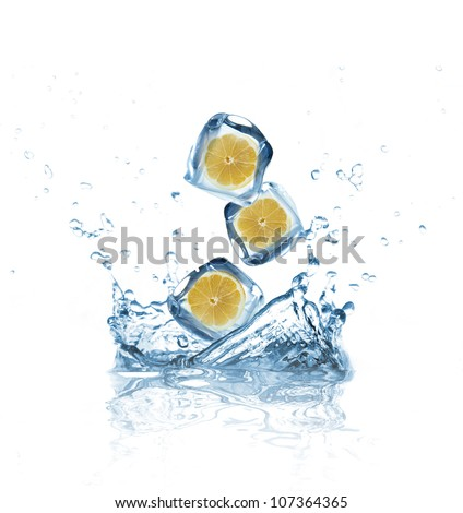 Lemons in ice cubes splashing into water - stock photo
