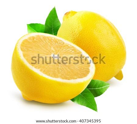 lemons isolated on the white background - stock photo