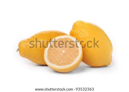 lemons isolated over white background - stock photo