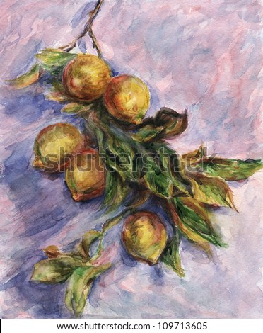 "Lemons on a Branch. Inspired by Claude Monet painting ""Lemons on a Branch"", watercolor interpretation. - stock photo"
