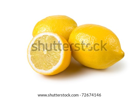 Lemons on a white background. Isolated path included. - stock photo