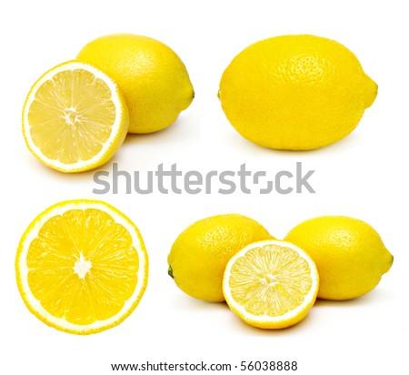 Lemons set isolated on a white background - stock photo
