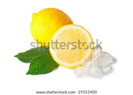 lemons with ice and green leafs, isolated on white background - stock photo