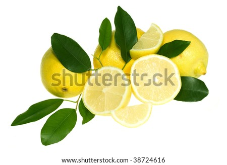 Lemons with leafs  isolated on white background