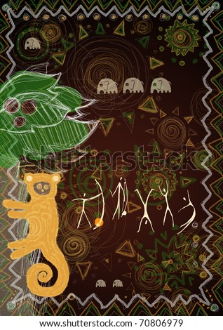 Lemur in the mighty jungle, image with some African patterns - stock photo