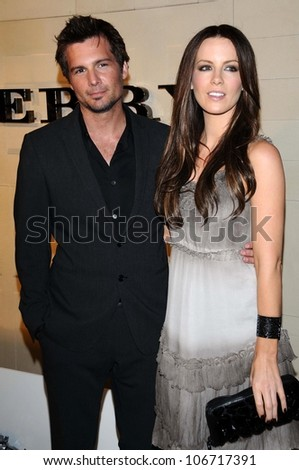 Len Wiseman and Kate Beckinsale  at the Burberry Beverly Hills Store Re-Opening. Burberry Beverly Hills Store, Beverly Hills, CA. 10-20-08 - stock photo