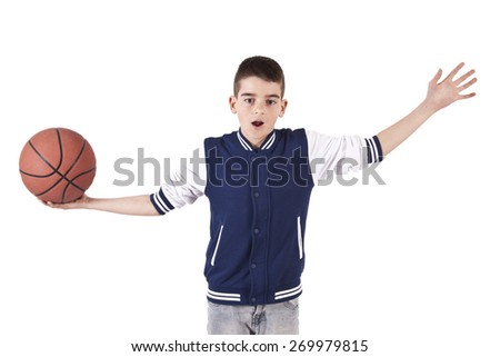 length child isolated on white with ball - stock photo