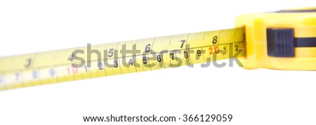 Length measured with roulette isolated on white