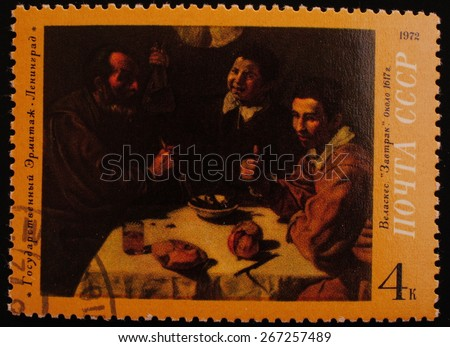 Leningrad, USSR-CIRCA 1972: Postage stamp edition of The State Hermitage Museum picture shows an image of the artist Velazquez Breakfast - stock photo
