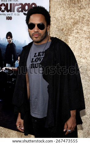 Lenny Kravitz at the HBO's 'Entourage' Season 7 Premiere held at the Paramount Studios lot in Hollywood on June 16, 2010.  - stock photo
