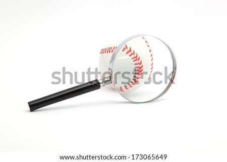 lens and a baseball on a white background - stock photo